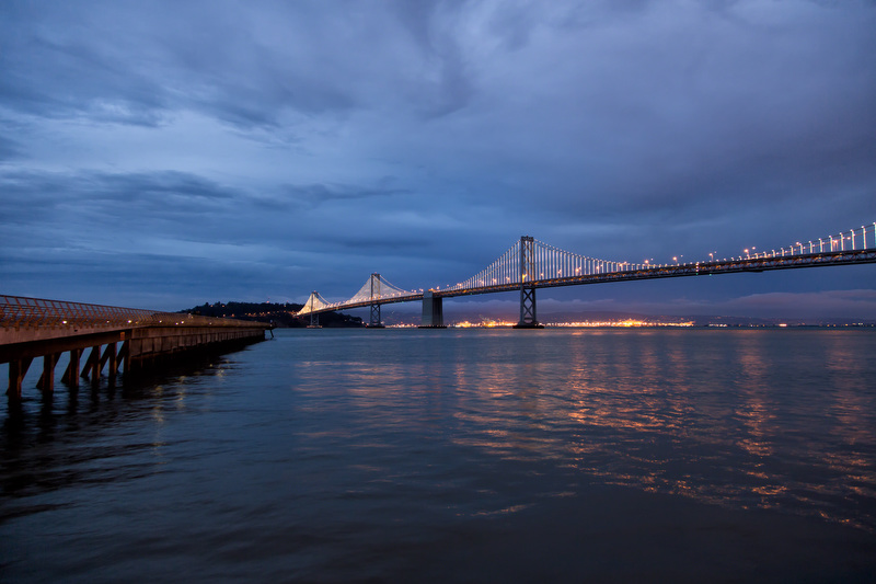 Bay Bridge Lights, Cloudy Skies