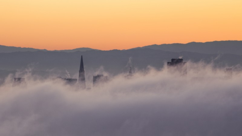 Transamerica Building in Fog