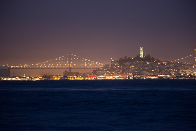 Coit Tower and Bay Bridge